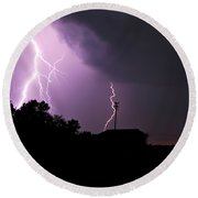 Electrifying Sky  Round Beach Towel