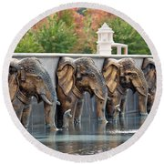 Elephants Of The Mandir Round Beach Towel