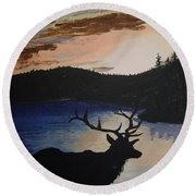 Round Beach Towel featuring the painting Elk At Sunset by Norm Starks