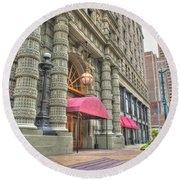 Round Beach Towel featuring the photograph Ellicott Square Building And Hsbc by Michael Frank Jr