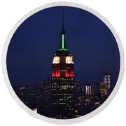 Empire State Building1 Round Beach Towel by Zawhaus Photography