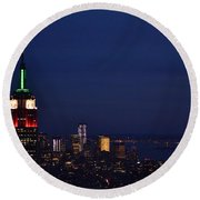 Empire State Building3 Round Beach Towel by Zawhaus Photography