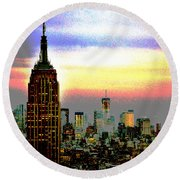 Empire State Building4 Round Beach Towel by Zawhaus Photography