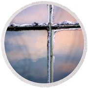 Empty Cross On The Window Of An Old Church Round Beach Towel