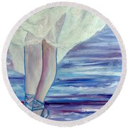Round Beach Towel featuring the painting En Pointe by Julie Brugh Riffey