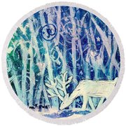 Enchanted Winter Forest Round Beach Towel by Shana Rowe Jackson