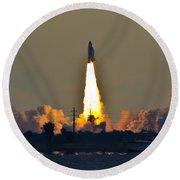 Endeavor Blast Off Round Beach Towel by Dorothy Cunningham