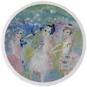 Round Beach Towel featuring the painting English Country Garden Ballet by Judith Desrosiers