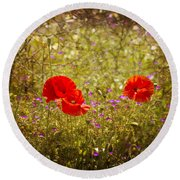 English Summer Meadow. Round Beach Towel