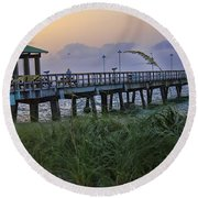Round Beach Towel featuring the photograph Enjoying The Sunrise by Anne Rodkin