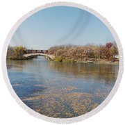Round Beach Towel featuring the photograph Erie Canal Panorama by William Norton