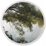 Round Beach Towel featuring the photograph Erie Canal Turning Basin by William Norton