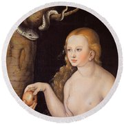 Eve Offering The Apple To Adam In The Garden Of Eden And The Serpent Round Beach Towel
