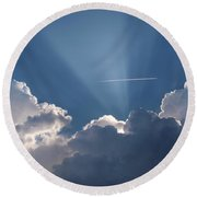 Even Through The Clouds You Will Find A Ray Of Sunshine Round Beach Towel