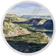 Evening Flight Over Palo Duro Canyon Round Beach Towel