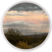 Round Beach Towel featuring the photograph Evening In Tucson by Kume Bryant