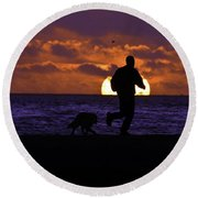Round Beach Towel featuring the photograph Evening Run On The Beach by Clayton Bruster