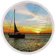Evening Sailing Round Beach Towel