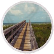 Evening Walk To The Beach Round Beach Towel