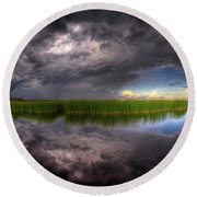 Everglades Reflection Round Beach Towel by Nick  Shirghio