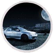Round Beach Towel featuring the photograph Evo 7 At Night by Steve Purnell