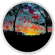 Round Beach Towel featuring the photograph Electric Sunset by J R Seymour