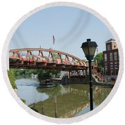 Round Beach Towel featuring the photograph Fairport Lift Bridge by William Norton