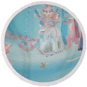 Round Beach Towel featuring the painting Fairy Godmother Convention by Judith Desrosiers