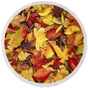 Fall  Autumn Leaves Round Beach Towel