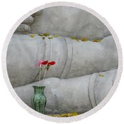 Round Beach Towel featuring the photograph Fall Buddha #1 by Nola Lee Kelsey