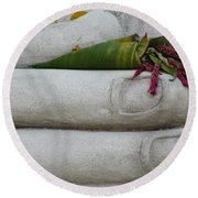 Round Beach Towel featuring the photograph Fall Buddha #2 by Nola Lee Kelsey