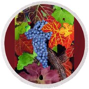 Fall Cabernet Sauvignon Grapes Round Beach Towel