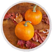 Round Beach Towel featuring the photograph Fall Decorative Pumpkins by Verena Matthew