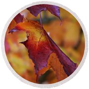Fall Leaf Round Beach Towel by Jeanette C Landstrom