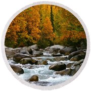 Fall On The Little Susitna River Round Beach Towel