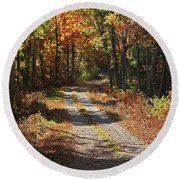 Fall On The Wyrick Trail Round Beach Towel