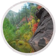 Fall Peeks From Behind The Rocks Round Beach Towel by Heather Kirk