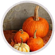 Round Beach Towel featuring the photograph Fall Pumpkin And Decorative Squash by Verena Matthew