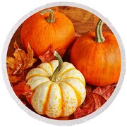 Round Beach Towel featuring the photograph Fall Pumpkins And Decorative Squash by Verena Matthew