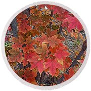 Fall Red Round Beach Towel