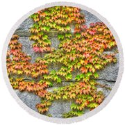 Round Beach Towel featuring the photograph Fall Wall by Michael Frank Jr