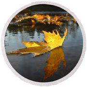 Fallen Maple Leaf Reflection Round Beach Towel by Kent Lorentzen