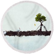 Falling Mangrove Leaf Round Beach Towel by Dan Friend