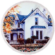 Round Beach Towel featuring the painting Family Home Portrait by Hanne Lore Koehler