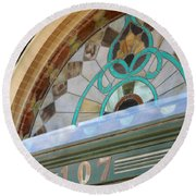 Fan Of Antique Stained Glass Round Beach Towel