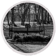 Round Beach Towel featuring the photograph Farm Antique by Karen Harrison