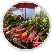 Round Beach Towel featuring the photograph Farmer's Market by Lora Lee Chapman