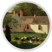Farmyard Scene Round Beach Towel by Winslow Homer