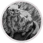 Fat Cat Fur Ball Round Beach Towel