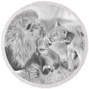 Father And Cub Round Beach Towel